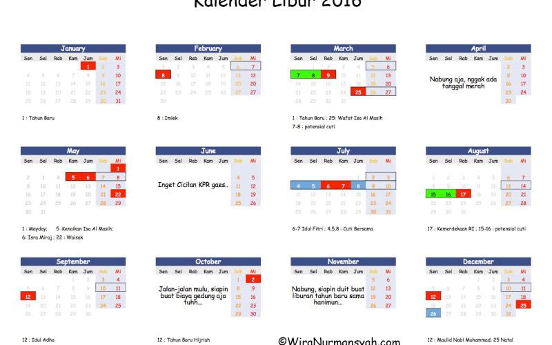 Kalender Libur 2016 : Daftar Tanggal Merah, Cuti Bersama, dan Hari Potensial Cuti!