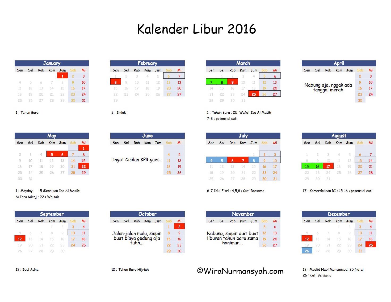 kalender libur 2016 daftar tanggal merah cuti bersama dan hari potensial cuti wira nurmansyah. Black Bedroom Furniture Sets. Home Design Ideas